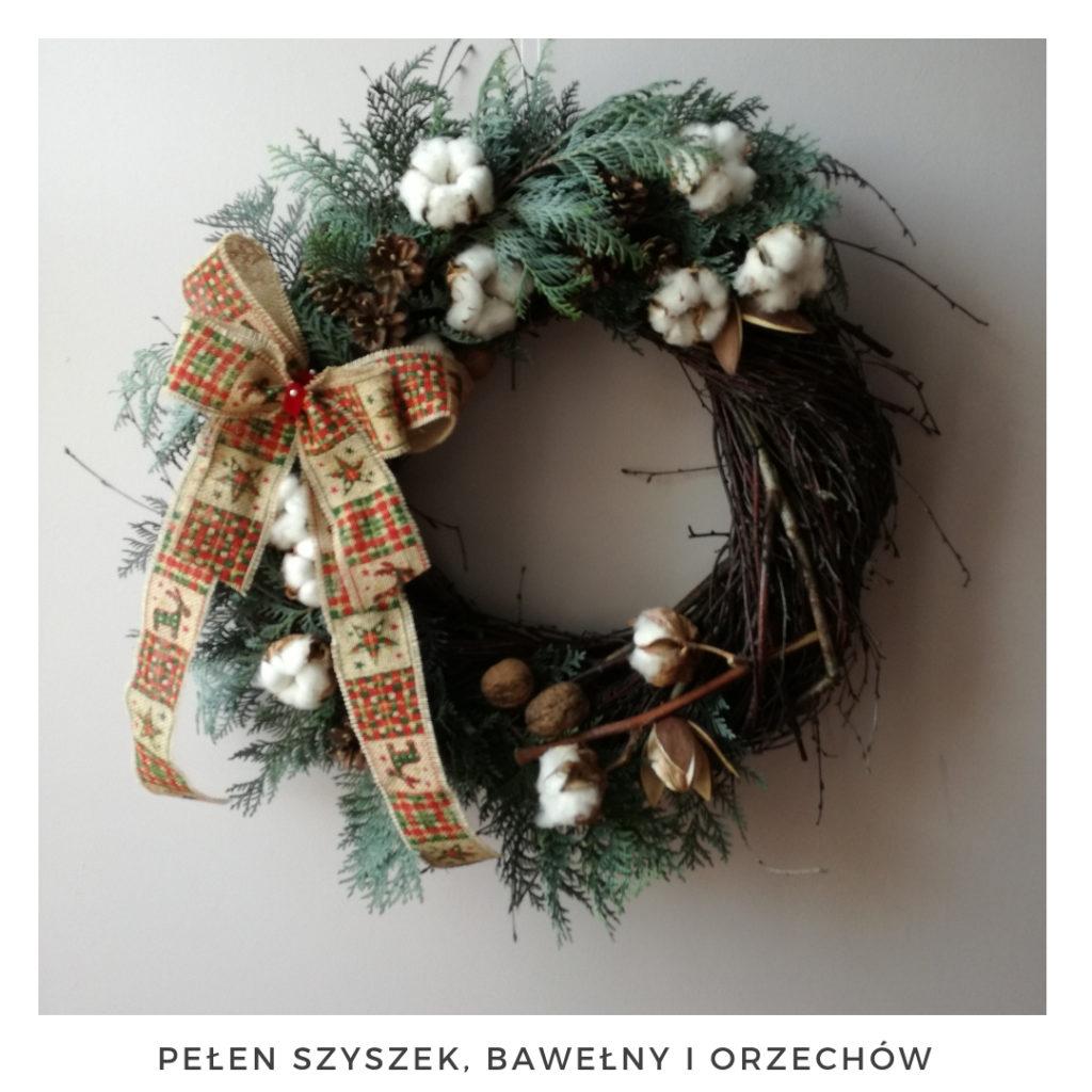 Świąteczny wianek narodzenie święta ozdoby zimowy dekoracje boże narodzenie świąteczne Pakamera święta bożego wianki świąteczne wianki na drzwi stroik jodła świerk szyszki choina świeży żywy bawełna