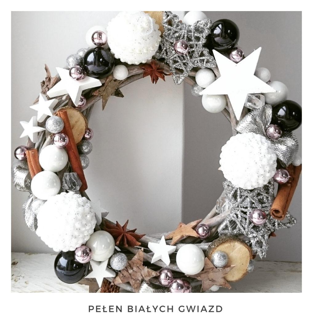 Świąteczny wianek narodzenie święta ozdoby zimowy dekoracje boże narodzenie świąteczne Pakamera święta bożego wianki świąteczne wianki na drzwi stroik srebrny miedziany gwiazda bombki brokat cynamon