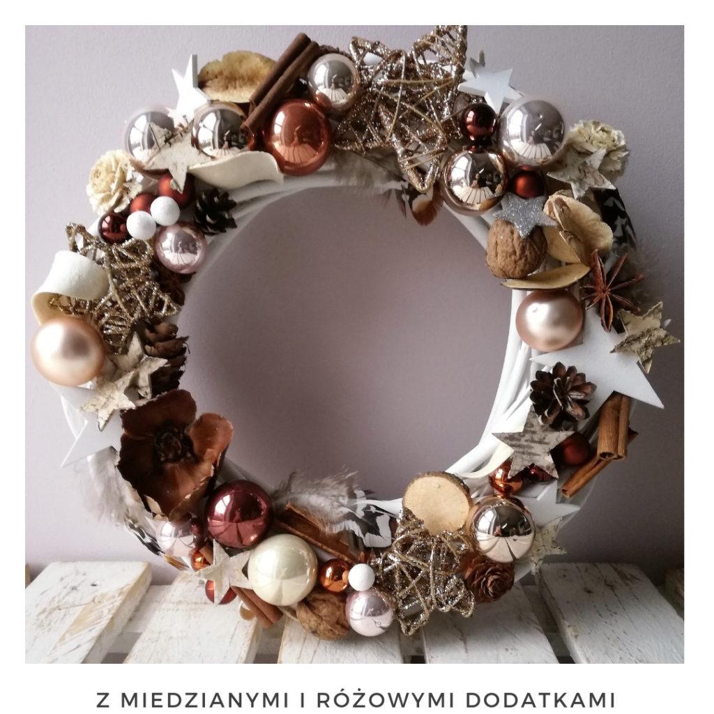 Świąteczny wianek narodzenie święta ozdoby zimowy dekoracje boże narodzenie świąteczne Pakamera święta bożego wianki świąteczne wianki na drzwi stroik srebrny miedziany gwiazda bombki brokat cyamon
