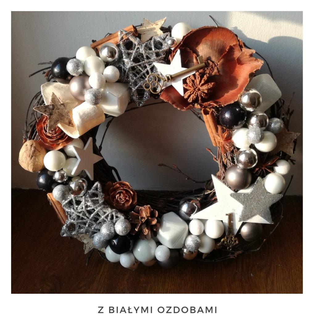 Świąteczny wianek narodzenie święta ozdoby zimowy dekoracje boże narodzenie świąteczne Pakamera święta bożego wianki świąteczne wianki na drzwi stroik srebrny miedziany gwiazda bombki brokat