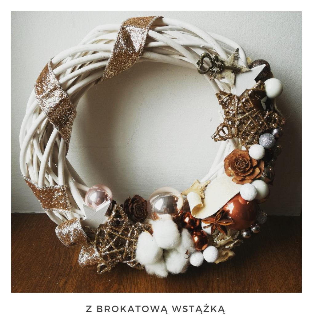 Świąteczny wianek narodzenie święta ozdoby zimowy dekoracje boże narodzenie świąteczne Pakamera święta bożego wianki świąteczne wianki na drzwi stroik srebrny miedziany gwiazda bombki brokat bawełna
